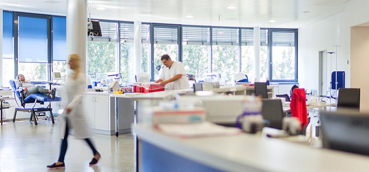 Spenderaum bei der Deutschen Stammzellspenderdatei in Frankfurt