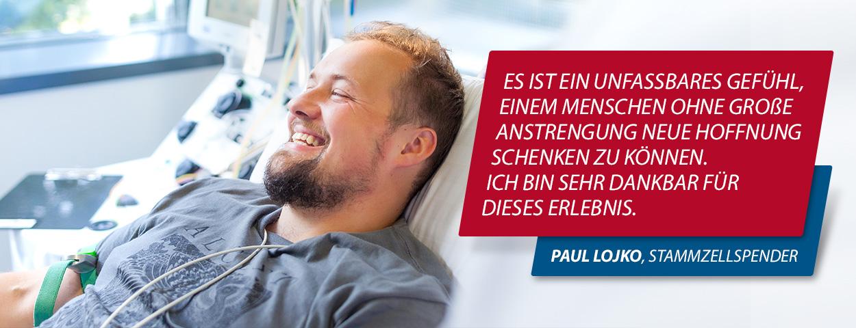 Stammzellspender bei der Deutschen Stammzellspenderdatei während der Entnahme von Stammzellen