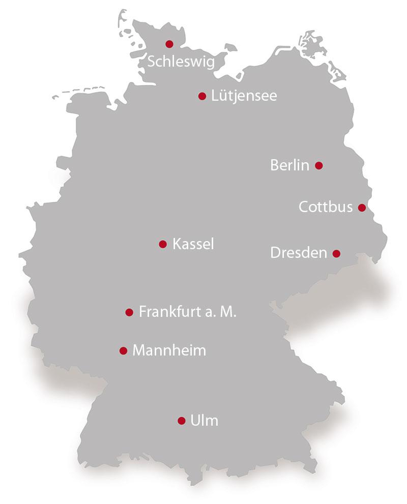 Karte der verschiedenen Standorte der Deutschen Stammzellspenderdatei